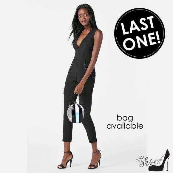 Deep V Black Lace Tie Accent Jumpsuit